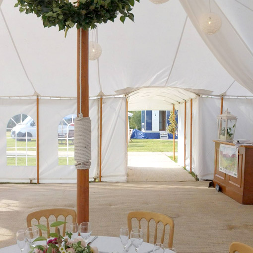 Traditional marquee, unlined, with a patriotic theme.