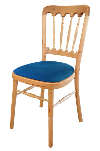 Beech Chair with Blue Cushion